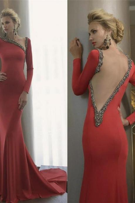 Red Prom Dresses,Prom Dress,Sexy Prom Dress,Long Sleeves Prom Dresses,Charming Formal Gown,Backless Evening Gowns,Open Back Party Dress,Sexy Prom Gown For Teens