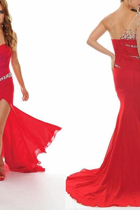 Red Prom Dresses,Mermaid Prom Dress,One Shoulder Prom Dress,Prom Dresses,Formal Gown,Evening Gowns,Red Party Dress,Mermaid Prom Gown For Teens