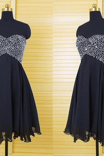 Black Homecoming Dress,Homecoming Dresses,Homecoming Gowns,Beading Party Dress,Short Prom Gown,Sweet 16 Dress,Strapless Homecoming Dresses,Cheap Formal Dress