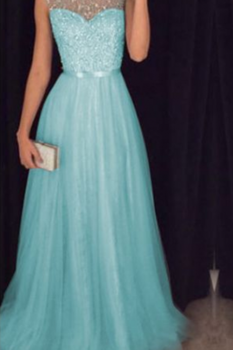 Light Blue Tulle Sequins and Beaded Prom Dresses Sparkle Formal Dresses, Light Blue Prom Dresses