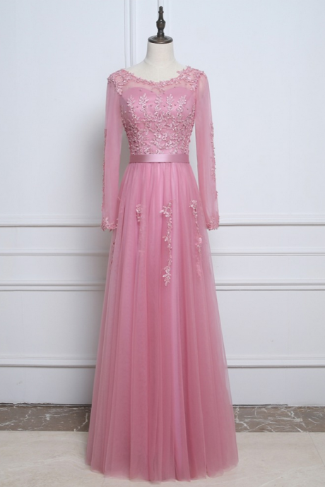 Rose Pink Real Sample Prom Evening Dresses With Long Sleeves Lace Appliques Pearls Cheap Robe De Soiree