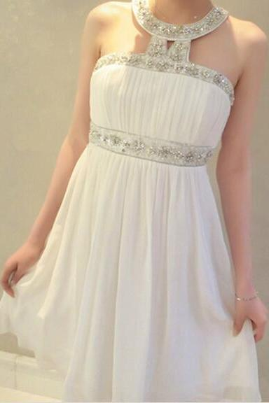 White Homecoming Dress,Short Prom Gown,Chiffon Homecoming Gowns,Princess Party Dress,Prom Dresses With Beading Homecoming Dress For Teens