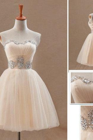 Short Prom Gown,Champagne Homecoming Gowns,Homecoming Dress,Ball Gown Homecoming Dresses,Sweet 16 Dress For Teens