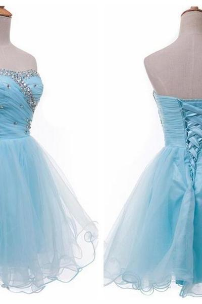 Light Blue Homecoming Dress,Beading Homecoming Dress,Tulle Prom Dress,Short Prom Gown,Formal Dress,New fashion Sweet 16 Dresses