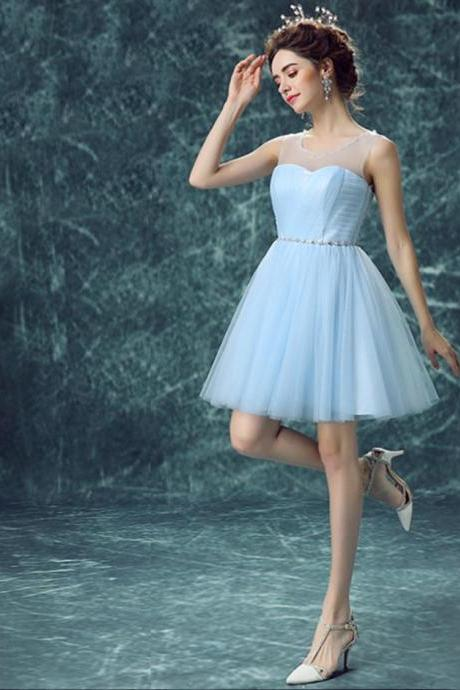 Light Sky Blue Homecoming Dress,Short Prom Dresses,Homecoming Gowns,Fitted Party Dress,Silver Beading Prom Dresses,Sparkly Cocktail Dress,backless Homecoming Gown,Style Glitter Evening Gowns