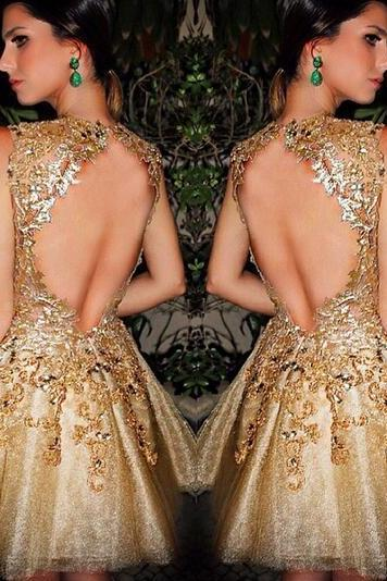 Gold Homecoming Dress,Short Prom Gown,Tulle Homecoming Gowns,Backless Party Dress,Sequined Prom Dresses,Homecoming Dress For Teens