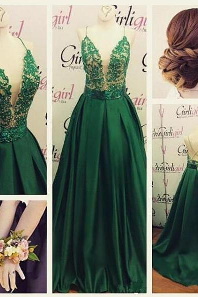 Backless Prom Dresses,Green Prom Gowns,Green Prom Dresses, Party Dresses ,Long Prom Gown,Prom Dress,Sparkle Evening Gown,Sparkly Party Gowbs