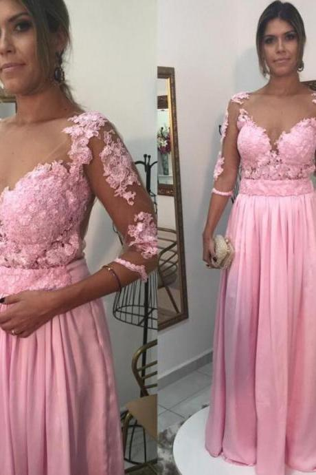 Pink Prom Dress,Ball Gown Prom Dress,White Lace Prom Gown,Backless Prom Dresses,Sexy Evening Gowns,New Fashion Evening Gown,Long Sleeves Party Dress For Teens