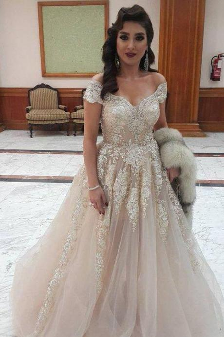 Sardi Arabia Lace Wedding Dresses,Sexy Deep V Neck Off the Shoulder Bridal Dress ,Middle East Style Wedding Dress