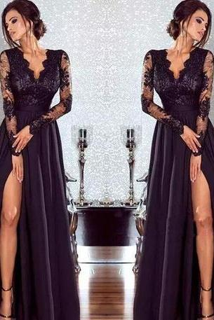New Arrival Prom Dress,Hot Sexy Black Lace Evening Dresses with Long Sleeves V Neck Women Formal Gowns Split A Line Party Prom Dresses Floor Length