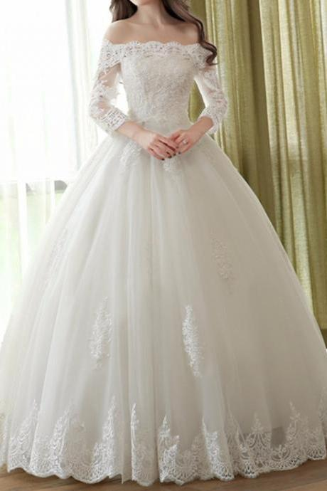 Lace Off-The-Shoulder Long Mesh Sleeves Floor Length Tulle Wedding Gown