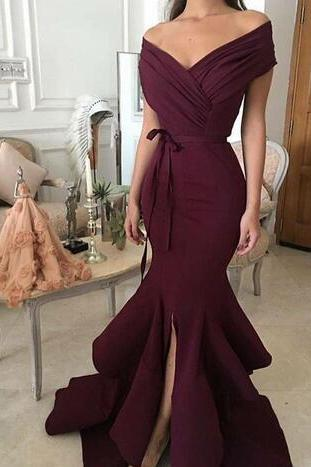 Burgandy Mermaid Prom Dresses, with Off Shoulder Prom Dress,V Neck Sleeveless Split Floor Length Prom Dresses,Ruching Bow Belts Sexy Wine Trumpet Evening Gowns