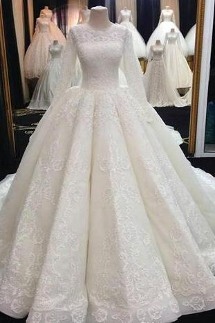 Middle East Muslim Wedding Dresses, Long Sleeves Applique Wedding Dress,Lace Wedding Gowns, Custom Made Ball Gown Bridal Dress Plus Size