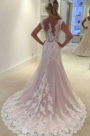 wedding gowns,lace wedding dress, mermaid with sheer tulle back wedding dresses
