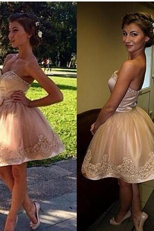 Sexy Cute Cocktail Homecoming Dresses, Sweetheart Bow Beads Homecoming Dress,Lace Prom Dresses, Champagne lace Dress