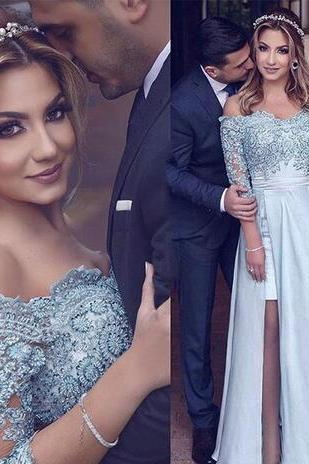 New Design Blue Prom Dresses,Crystals Prom Dress,High Split Off-Shoulder Prom Dress,Party Evening Gowns ,A-Line Beads Appliques Brides Dress
