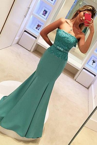 Blue Prom Dresses,Strapless Prom Dress,Lace Prom Dress,Strapless Prom Dress,Satin Prom Dress,Simple Evening Gowns,Cheap Party Formal Gowns For Teens