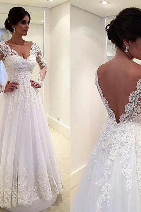 White Wedding Dresses,Long Sleeves Wedding Gown,Lace Wedding Gowns,Ball Gown Bridal Dress,Princess Wedding Dress,Beautiful Brides Dress With Long Train,Backless Wedding Gowns,Open Back Wedding Dress