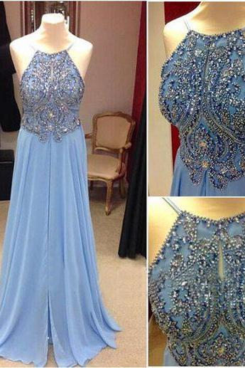 Sexy Prom Dresses,Spaghetti Straps Evening Dresses,Glitter Prom Gowns,Elegant Prom Dress,Bling Prom Dresses,Chiffon Evening Gowns,Blue Long Formal Dress,Slit Evening Gown