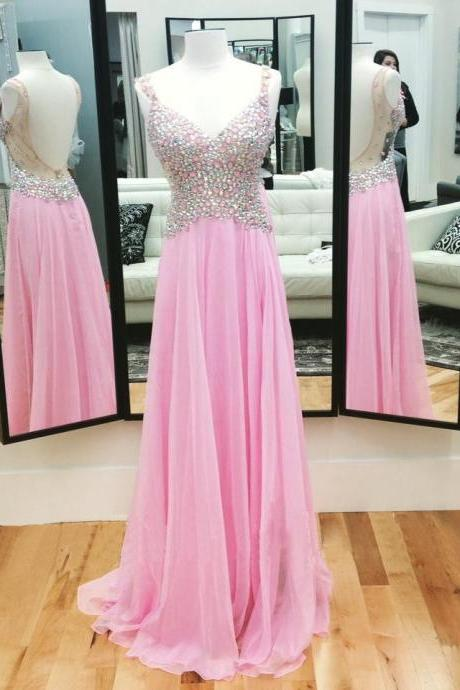 Pink Backless Prom Dresses,Open Back Prom Gowns, Pink Prom Dresses, Party Dresses,Long Prom Gown,Open Backs Prom Dress,Sparkle Evening Gown,Sparkly Party Gowbs