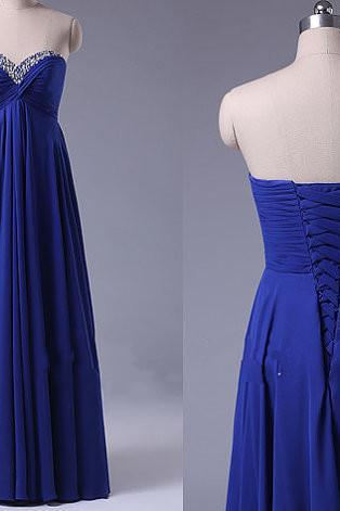 Royal Blue Prom Dresses,Fitted Prom Dress,Prom Dress,Corset Prom Dresses,Formal Gown,Simple Evening Gowns,Modest Party Dress,Chiffon Prom Gown For Teens