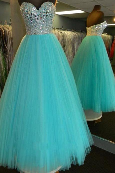 Blue Prom Dress,Ball Gown Prom Dress,Princess Prom Gown,Beaded Prom Dresses,Sexy Evening Gowns,New Fashion Evening Gown,Sexy Graduation Dress For Teens