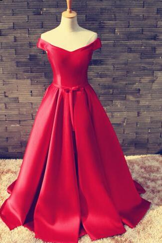 Red Prom Dresses,Simple Prom Dress,Sexy Prom Dress,Fitted Corset Prom Dresses,Formal Gown,Satin Evening Gowns,Ball Gown Party Dress,Off The Shoulder Prom Gown For Teens