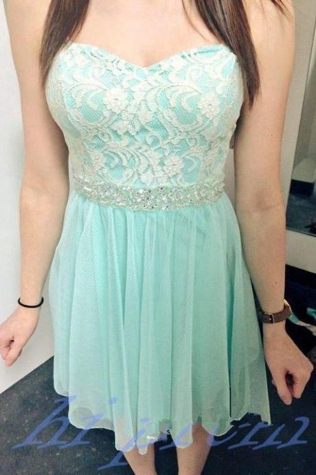 Lace Homecoming Dress,Mint Green Prom Dress,Cute Homecoming Dress,Silver Beading Homecoming Dresses,Short Prom Dress,White Lace Homecoming Gowns,Chiffon Sweet 16 Dress For Teens Girls