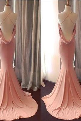 Sexy V-Neck Mermaid Long Prom Dress, Evening Dress, Formal Dress with Crisscross Back