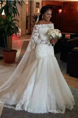 Spring Lace Wedding Dress, Off The Shoulder Wedding Dress Boat Neck, Long Sleeve Wedding Bridal Dress, Sexy Mermaid Long Wedding Dress, Vintage Lace Appliques Wedding Gowns, Plus Size China Wedding Dress, Customize Wedding Dresses, Lace Up Back Corest Bodice Wedding Gowns, Robe De Marriage