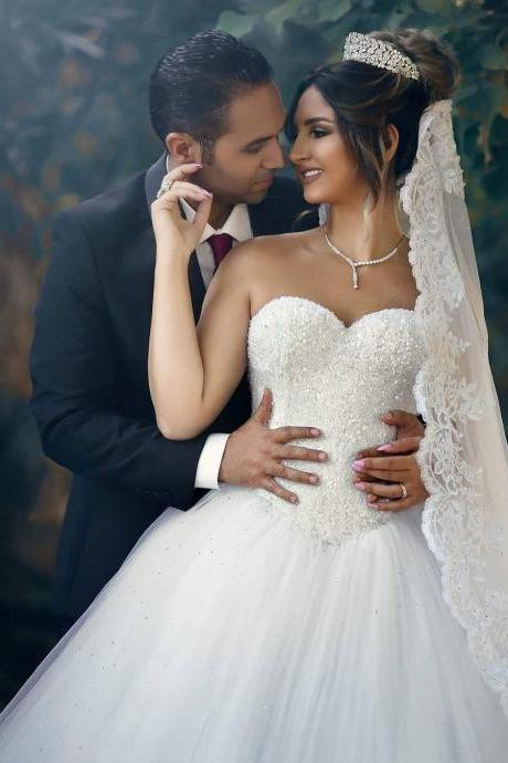 Strapless Sweetheart Beaded Ball Gown Wedding Dress with Long Train