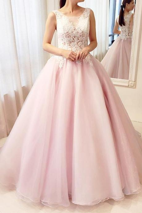 Pink Ball Gown Lace Party Gowns, Gorgeous Pink Prom Dresses, Sweet 16 Formal Gowns,Evening Dress