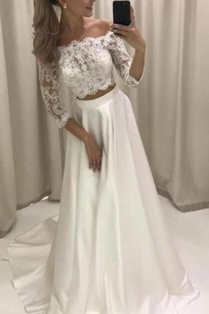 White Lace Prom Dress,Satin Two Piece Prom Dresses, Two Piece Prom Dresses, Formal Dresses,Evening Dress