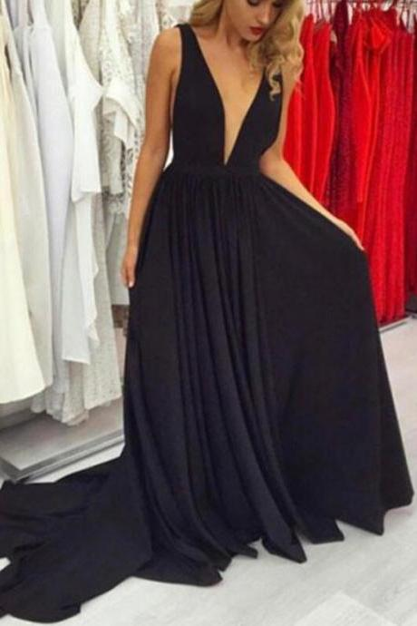 Black chiffon Prom Dress,Deep V-neckline Evening Gowns, Beautiful Party Gowns, Prom Dresses