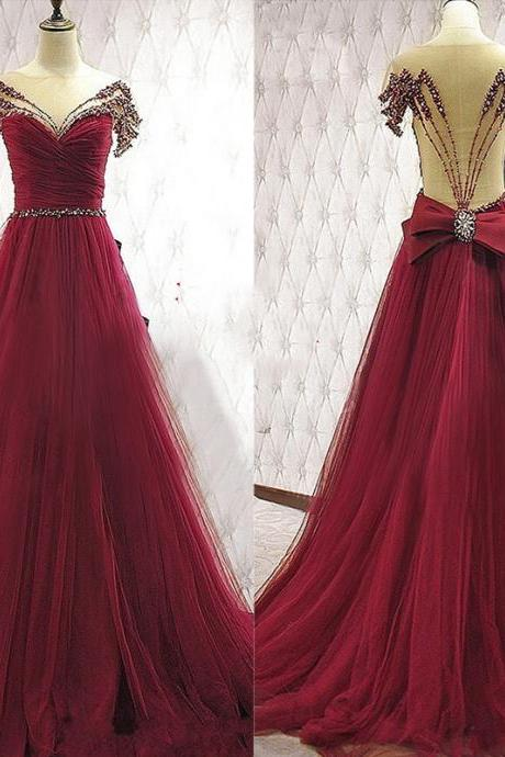 Charming Burgundy Prom Dresses,Beaded Handmade Prom Gowns,Long Prom Dress,Formal Evening Dresses,Beautiful Princess Gowns,Evening Dress