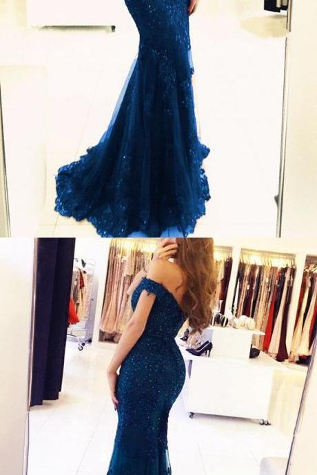 elegant navy blue lace prom dresses off the shoulder mermaid evening gowns pearl beaded,Prom Dresses