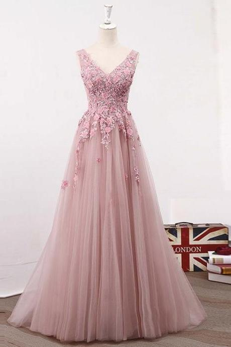 Elegant A-Line V-Neck Sleeveless Pink Tulle Long Prom Dress With Appliques