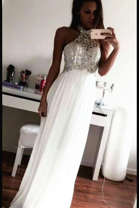 Beading Prom Dresses,Charming White Evening Dress,White Prom Gowns,High Neck Prom Dresses,New Prom Gowns