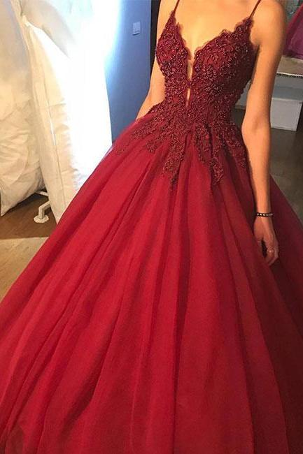 Unique ball Gown Prom Dress,spaghetti Straps Prom Dresses,Burgundy Tulle Long Prom Dresses,Evening Dress with Appliques