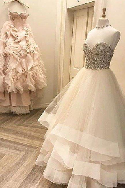 Beading Prom Dresses,New Style A-Line Prom Dress,Sweetheart White Long Evening Dress with Beading, Prom Gowns