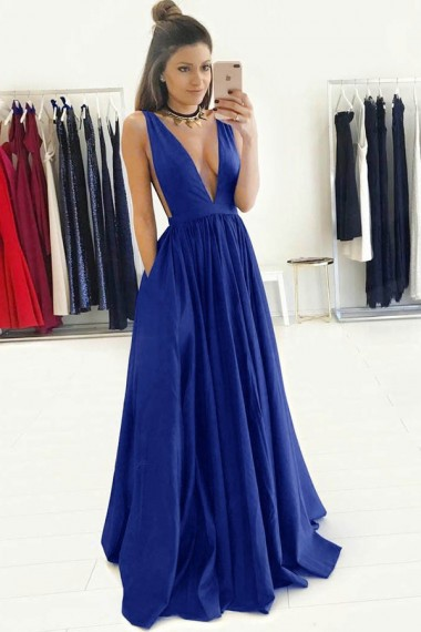 A-Line Deep V-Neck Sweep Train Royal Blue Satin Sleeveless Prom Dress