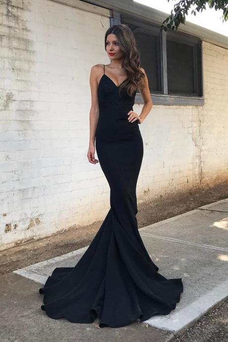 Mermaid Spaghetti Straps Sweep Train Black Stretch Satin Prom dress