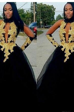 Halter Neck Prom Dresses,Sleeveless Prom Dress,Gold Lace Appliques Dress ,Tulle Tutu Skirt Evening Gowns Long