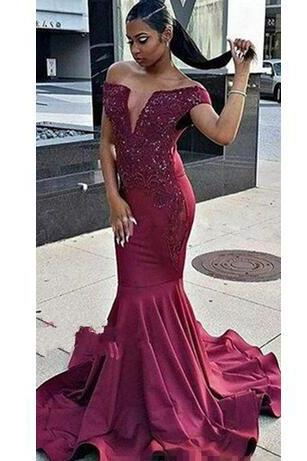 Burgundy Off The Shoulder Prom Dress,Mermaid Prom Dresses, Cascading Ruffles Evening Dresses,V-neck Beads Appliques Evening Gowns For African