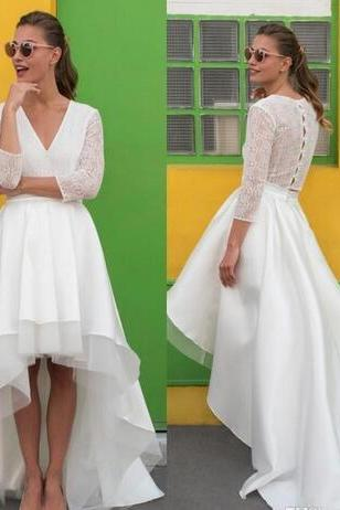 V-Neck Wedding Dresses,Tiered High-Low Wedding Dress, Featuring Sheer 3/4 Sleeves and Train Bridal Dresses