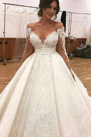 Deep V-Neck Lace Wedding Dresses,Sexy Appliques Sheer Illusion Wedding Dress,Long Sleeves Bridal Dresses,Off Shoulder Puffy Bridal Gowns Arabic Dubai Styles