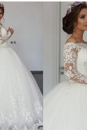 Long Sleeves Ball Gown Wedding Dresses Illusion Off Shoulder Lace Appliques Plus Size Sweep Train Formal Bridal Gowns,Long Wedding Gowns,Bridal Dresses Evening Gowns