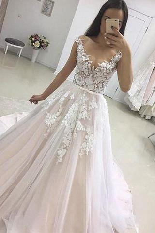 Stylish Illusion Lace Applique Long Prom Dress,A-Line Cap Sleeve Tulle Evening Dress,Long Prom Gowns,Backless Prom Dresses ,Evening Gowns