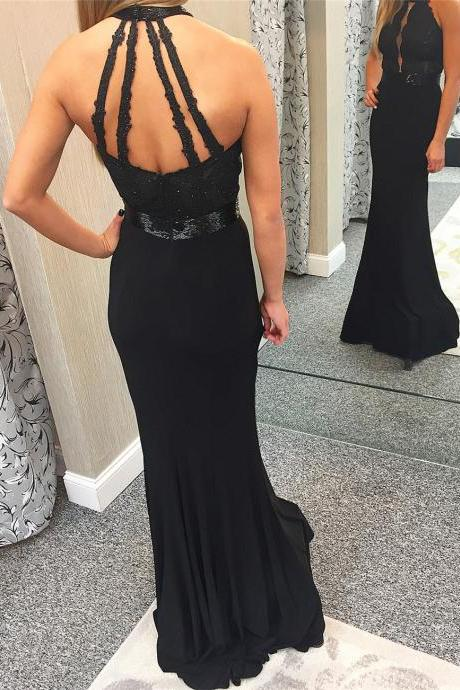 Black Mermaid Prom Dress, Sexy Beaded Appliques Prom Dresses, Long Evening Dress ,Long Prom Gowns,Backless Prom Dresses,Evening Gowns