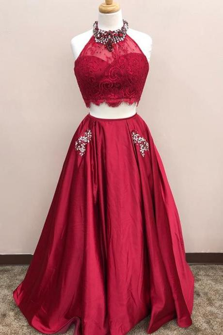 Charming Prom Dress, Two Piece Prom Dresses, Red Long Evening Dress,Party Gowns,Prom Dresses,Evening Gowns